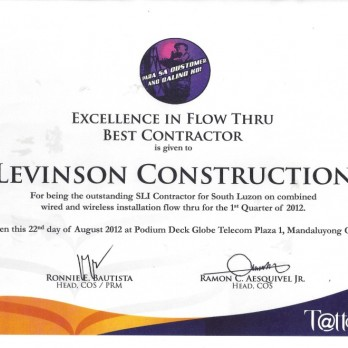 Excellence in Flow Thru Best Contractor Levinson Construction 1st Quarter  2012