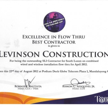 Excellence in Flow Thru Best Contractor Levinson Construction April 2012