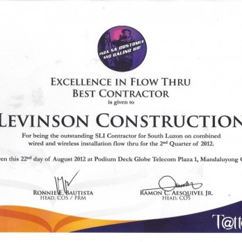 Excellence in Flow Thru Best Contractor Levinson Construction 2nd Quarter 2012
