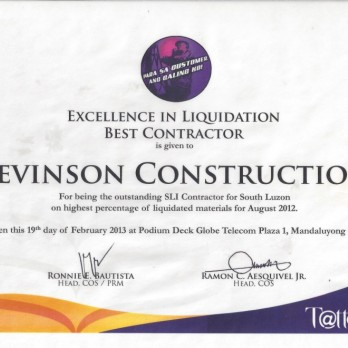Excellence in Liquidation Best Contractor - Levinson Construction August 2012