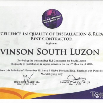 Excellence in Quality of Installation and Repair Best Contractor - Levinson South Luzon 1B 3rd Quarter  2012