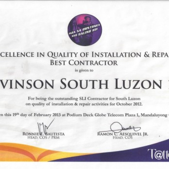 Excellence in Quality of Installation and Repair Best Contractor - Levinson South Luzon 1B October 2012