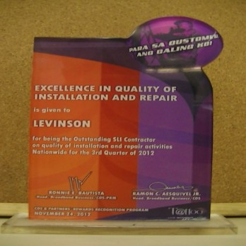 Globe Telecom - Excellence in Quality of Installation and Repair 3rd Quarter 2012