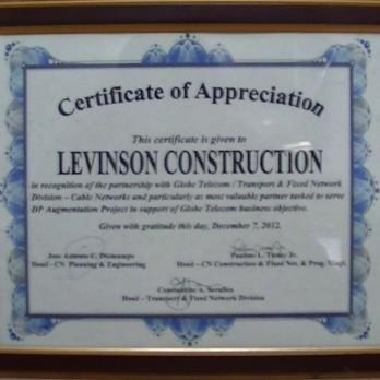Certificate of Appreciation Globe Telecom - DP Augmentation 2012