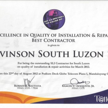 Excellence in Quality of Installation and Repair Best Contractor - Levinson South Luzon 1B March  2012