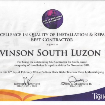 Excellence in Quality of Installation and Repair Best Contractor - Levinson South Luzon 1B November 2012