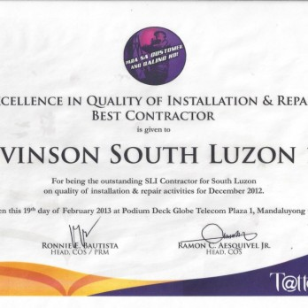 Excellence in Quality of Installation and Repair Best Contractor - Levinson South Luzon 1B December 2012