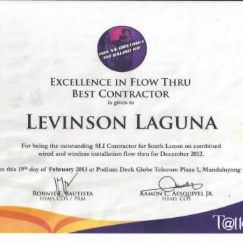 Excellence in Flow Thru Best Contractor Levinson Laguna December 2012