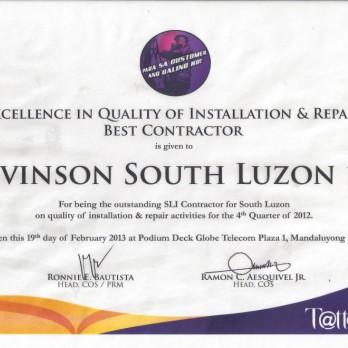 Excellence in Quality of Installation & Repair Best Contractor Levinson South Luzon 1B 4th Quarter 2012