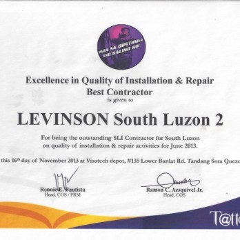 Excellence in Quality of Installation & Repair Best Contractor Levinson South Luzon 2 June 2013