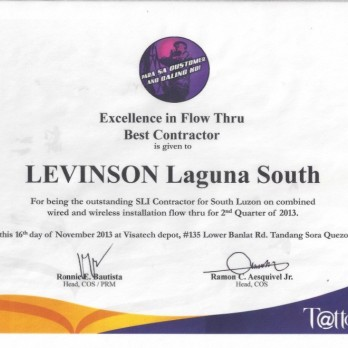 Excellence in Flow Thru Best Contractor Levinson Laguna South 2nd Quarter 2013