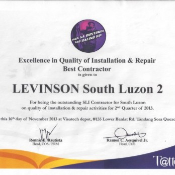 Excellence in Quality of Installation & Repair Best Contractor Levinson South Luzon 2 2nd Quarter 2013