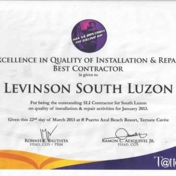 Excellence in Quality of Installation & Repair Best Contractor Levinson South Luzon January 2013