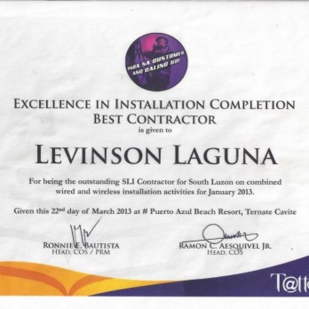 Excellence in Installation Completion Best Contractor Levinson Laguna January 2013