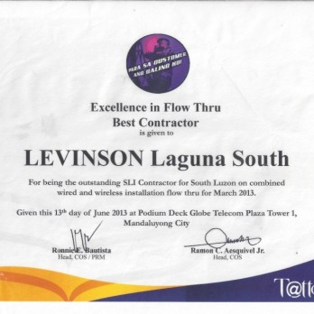 Excellence in Flow Thru Best Contractor Levinson Laguna South March 2013