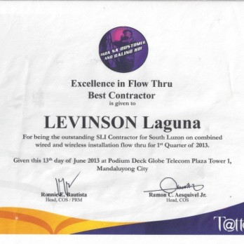 Excellence in Flow Thru Best Contractor Levinson Laguna  1st Quarter 2013