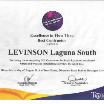 Excellence in Flow Thru Best Contractor Levinson Laguna South April 2013