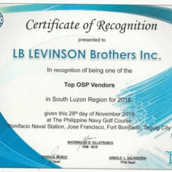 Top OSP Vendors in South Luzon Region for 2018