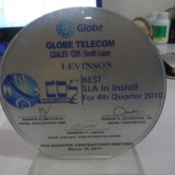 Globe Telecom Best SLA in Install for 4th Quarter 2010